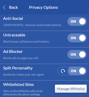 Windscribe privacy options