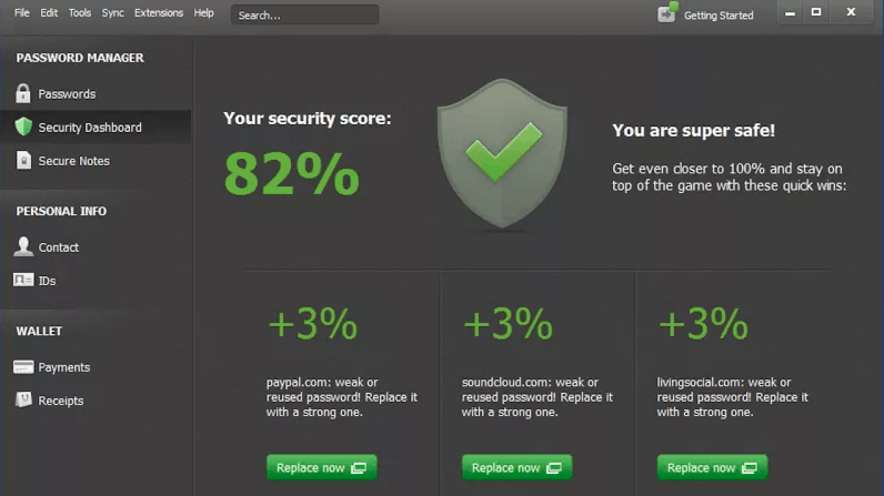 dashlane security interface