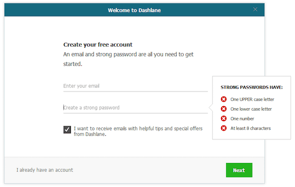 dashlane setting up master password