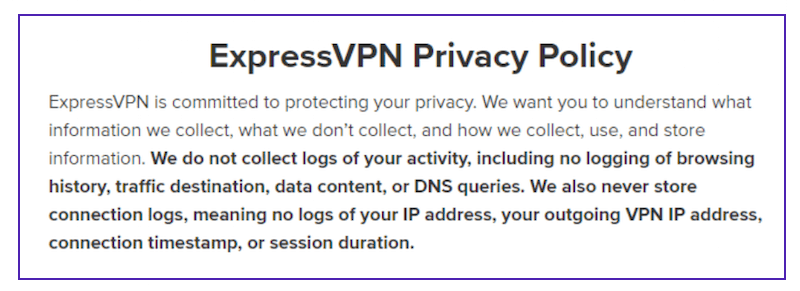 express vpn privacy policy