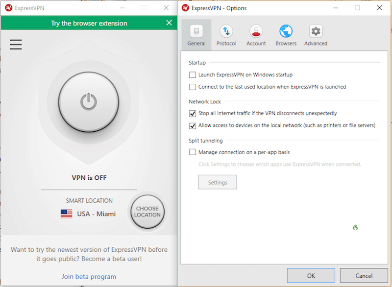 expressvpn interface layout