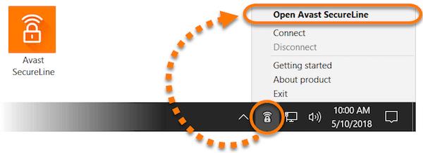 open avast secureline