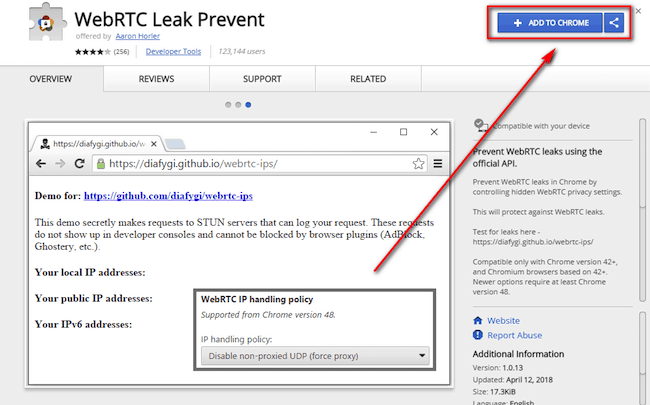 WebRTC Leak Prevent Chrome Extension