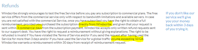 windscribe refund policy