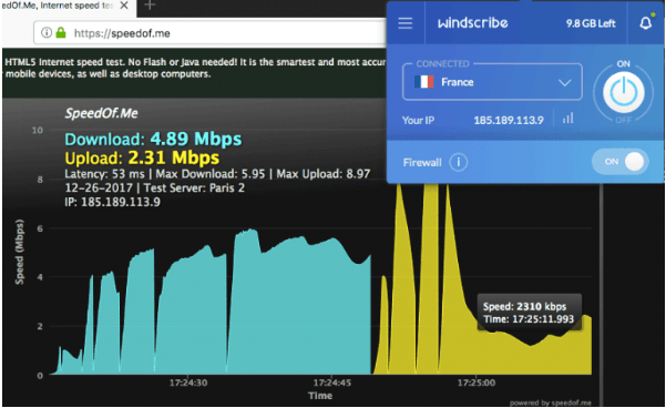 windscribe upload speed test