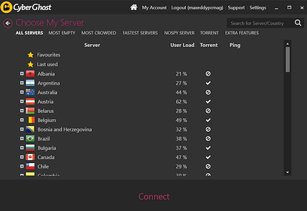 cyberghost server locations