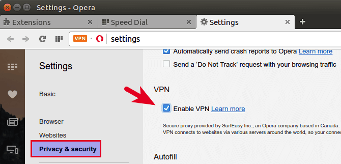 opera vpn browser badge enable