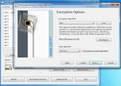 veracrypt encryption options