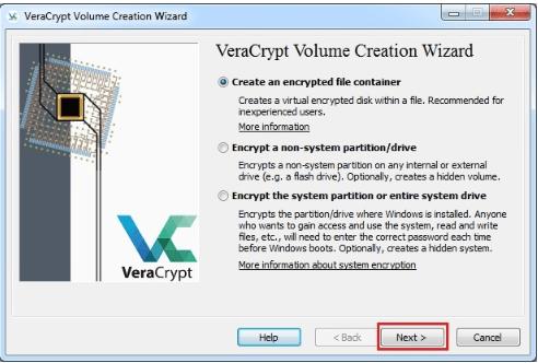 veracrypt volume creation wizard
