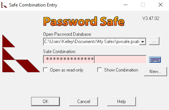 pwsafe stored login