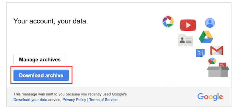 google downloading archive