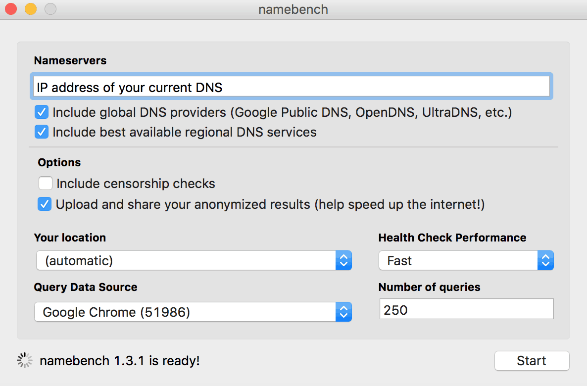 google namebench dns configuration