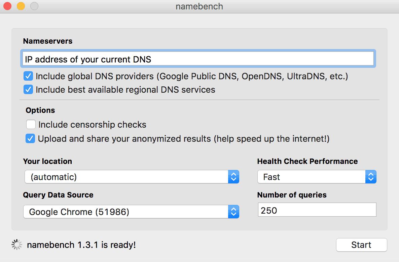 google namebench dns configuration