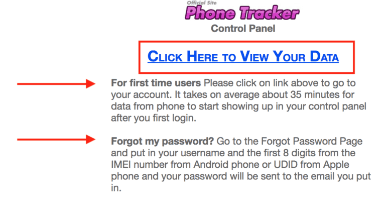 phone tracker forgot password