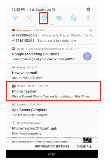 phone tracker notification