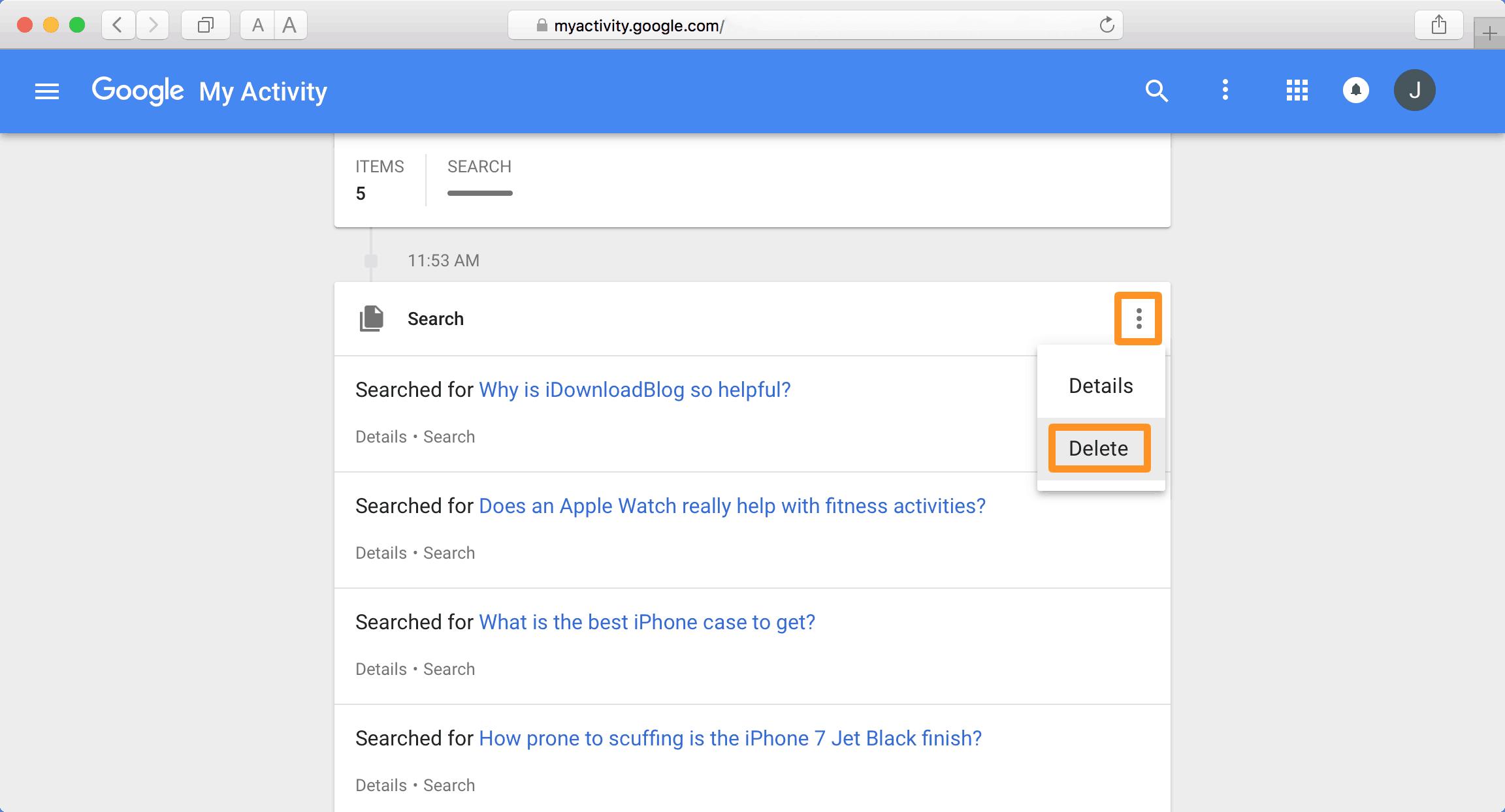 delete activity google