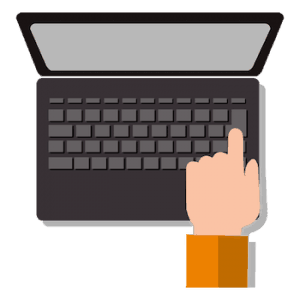 laptop clicking keyboard vector