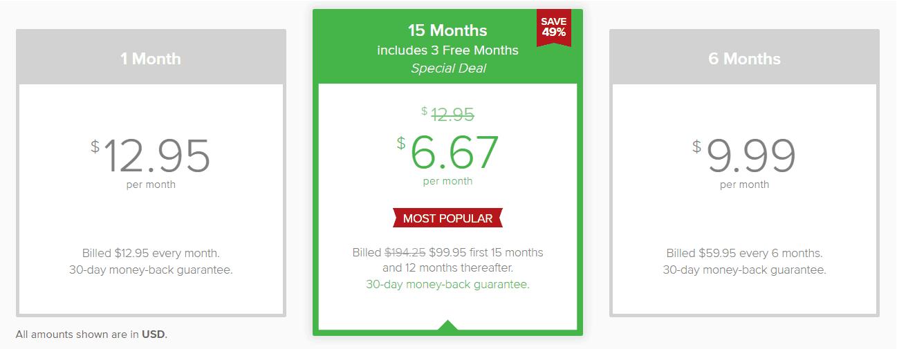 ExpressVPN pricing plan image