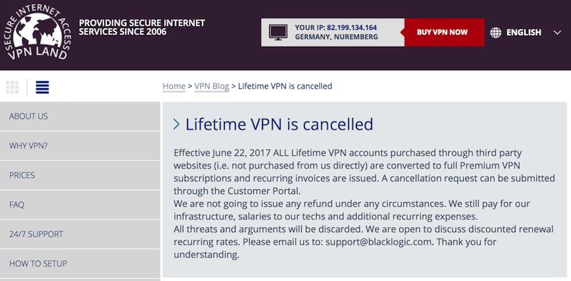 VPN Lifetime Subscription Scam