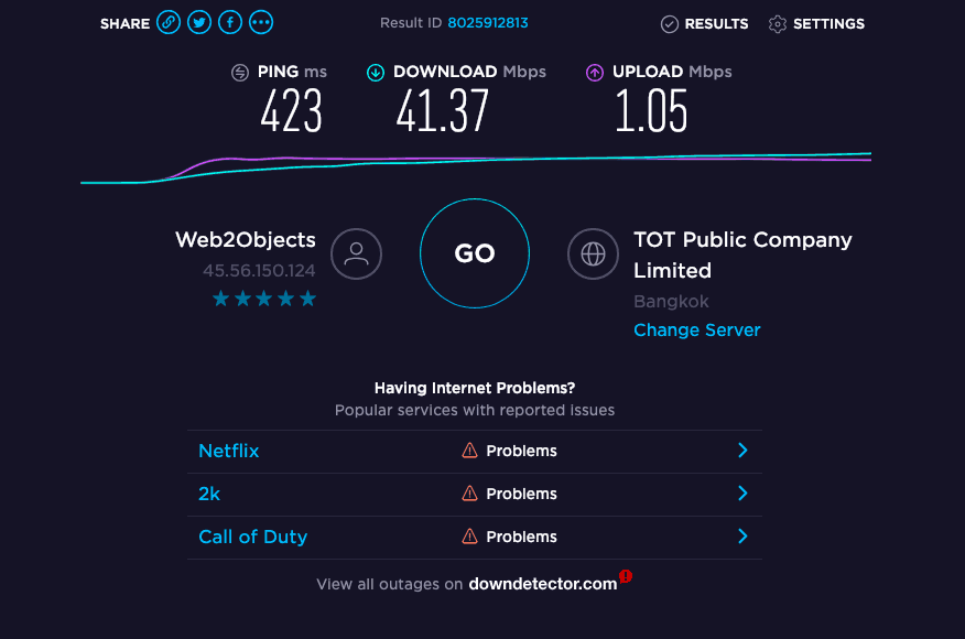 image of VPN speed testing
