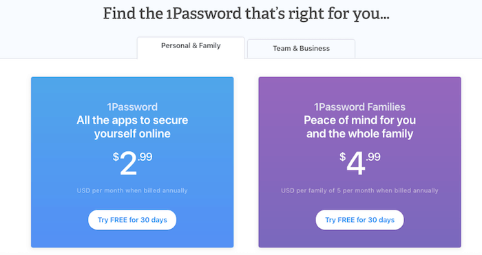1password family pricing