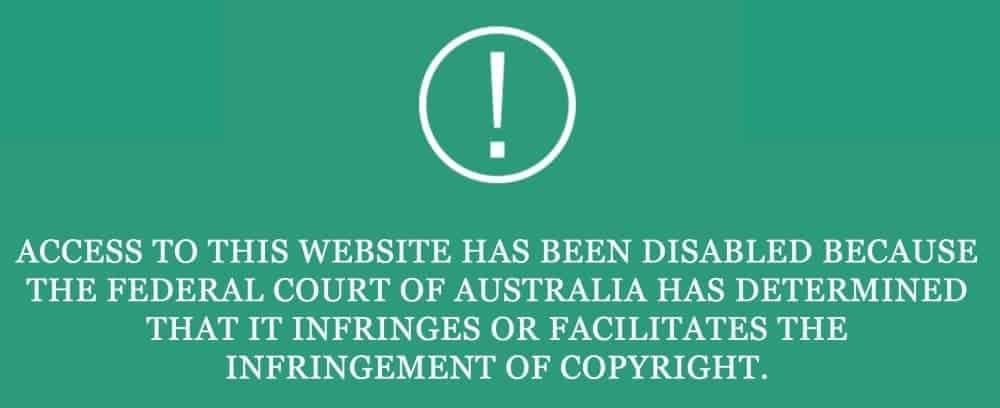 Australia copyright infringement notice