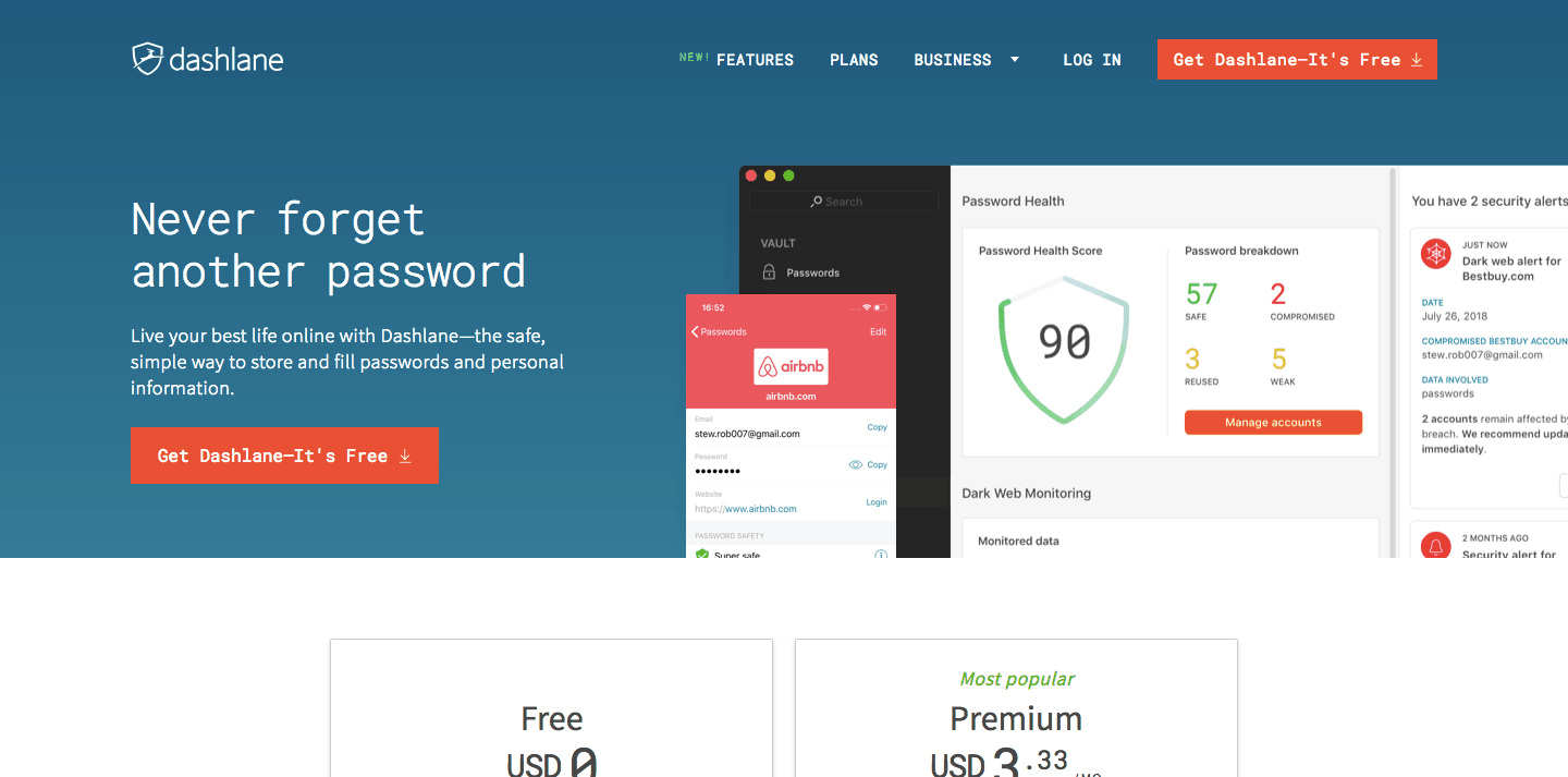Dashlane Homepage Screenshot