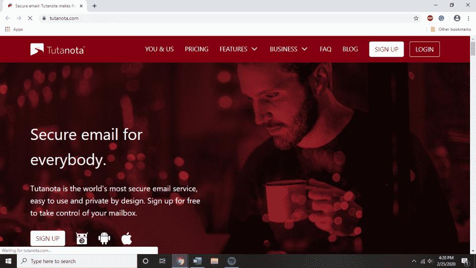 Tutanota Homepage
