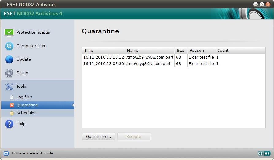 ESET quarantined files